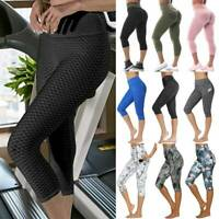 Women's High Waist Yoga Pants Pocket Leggings 3/4 Fitness Sports Capri Plus Size