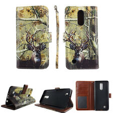 LG Phoenix 3 Fortune Risio 2 Rebel 2  Camo Tail Deer Wallet Leather Case Cover