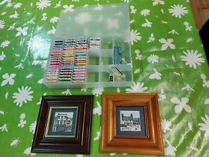 Cross stitch thread storage box + 2x frames