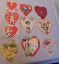 Valentine Cards 10 Hearts, Kids, Lady, Baseball, Flowers, Hand Made Used Vintage