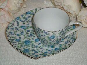 Vintage Japan Blue Floral Snack / Tennis Set Cup And Plate
