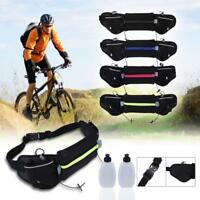 WaterProof Hydration Waist Running Jogging Pouch Belt w/ 2 Free Water Bottles