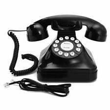 Home Retro Vintage Corded Telephone Home Black Old Fashioned Rotary Phone