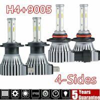 4 Sides H4+9005/9145 Combo LED Headlight Kit 6000K High/Low Beam+Fog Light Bulbs