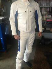 Kushitani White Leather Vintage Two-Piece Riding Suit