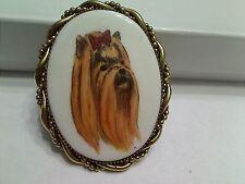 Vintage Shih Tzu Dog Oval Brooch, Excellent