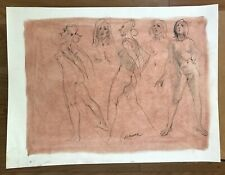 Original Harry Carmean Pastels & Black Charcoal Female Nude Figure Life Drawing
