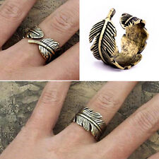 Hot New Punk Vintage Retro Bronze Women Feather Leaf Ring Jewelry Gift