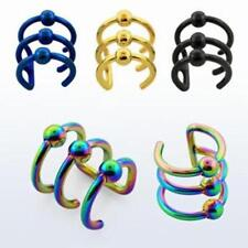1-4Pc Fake Illusion Piercing Steel Ear Cuff Black Blue Gold Rainbow Silver Ring