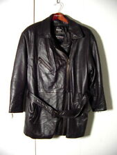 Vtg Wilsons Thinsulate Zip Sleeves & Belt Black Leather Jacket Coat Sz XL