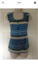 Dorothy Perkins Blue Floral Print Top with Button Back, Size 10