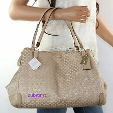 NWT Coach Madison OP Art Pearlescent Cafe Carryall Shoulder Bag 27905 Khaki RARE