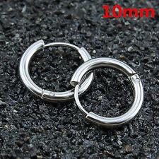 New Mens Womens Silver Stainless Steel Tube Hoop Ear Ring Stud Earrings Jewelry
