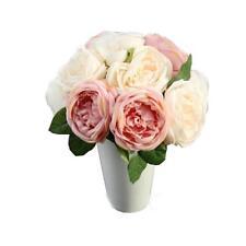 Pink Artificial Rose Silk Flowers 5 Flower Head Leaf Garden Decor DIY
