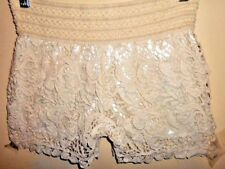 White &cream lace SHORTS size M wide elastic band 10 12 65% cotton lined summer