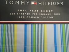 TOMMY HILFIGER~GAUCHO AQUA BLUE GREEN YELLOW STRIPE~ FULL FLAT SHEET~NEW~