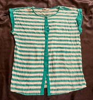 Bluse,Gr. XL,DeFacto,mehrfarbig: grün/weiß gestreift,100% Viskose,Rundhals