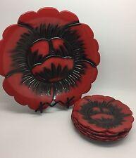 Vintage Japanese Kamakura 6-Piece Lacquerware Plate Set, Floral (RF515)