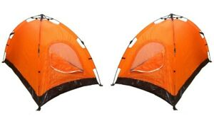 Lot of 2 Instant Automatic Pop Up Backpacking Camping Hiking 2 Man Tent Orange
