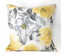 """PAINTED-STYLE FLORAL FLOWERS OCHRE YELLOW PIPED 18"""" - 45CM CUSHION COVER"""
