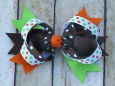 "Thanksgiving Autumn Fall Brown Orange Green Layered Hair Bow 4 1/2"""