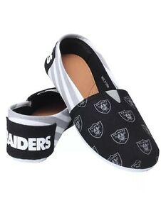 NFL Oakland Raiders Ladies Canvas Stripe Shoes Slippers
