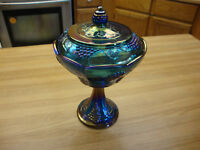 VINTAGE INDIANA BLUE IRIDESCENT CARNIVAL PEDESTAL COMPOTE WITH GRAPE PATTERN