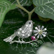 18K WHITE GOLD GP MADE WITH SWAROVSKI CRYSTAL BIRD DAISY FLOWER LEAVES BROOCH