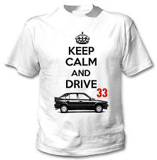 ALFA ROMEO 33 KEEP CALM AND DRIVE - NEW WHITE COTTON TSHIRT ALL SIZES IN STOCK