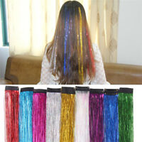 Extensions Hair Highlights Party Holographic Glitter Tinsel Sparkle Color kim