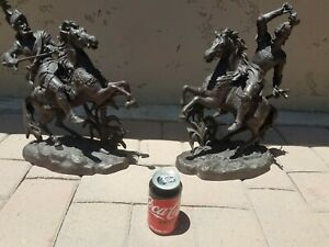 """Antique Spelter Figural Dueling Knights on Horseback Statues Pair Large 16"""" Tall"""