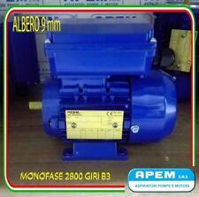 MOTORE ELETTRICO MONOFASE CV.0,12 KW.0,09 2800G/MIN MEC 56 B3 ALBERO 9mm NUOVO!!