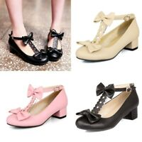 Women Girl Sweet Mary Jane Chunky Heels T-Strap Ankle Buckle Pumps Casual Shoes