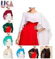 US Womens Chiffon Shawl Wedding Capes Shrug Cardigan Shawl Wraps Jacket Outfits