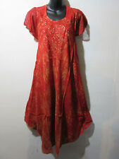 Dress Fits XL 1X 2X 3X 4X Plus Tunic Red with Gold Wash Lace Sleeves NWT G517
