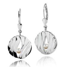 MATERIA Damen Brisur Ohrhänger Perlen 925 Sterling Silber rund Wellen mit Box