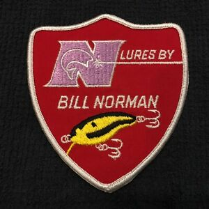 Rare Vintage Bill Norman Lures Embroidered Patch 4 x 4 1/2 in