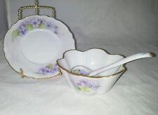 Elania Hammer Condiment Set Hand Painted 1982 Plate Bowl Spoon Vintage Violets