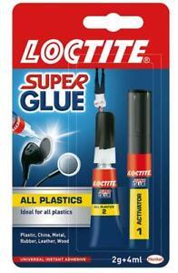 Loctite All Plastics 2g +4ml SUPER GLUE bonds in seconds GLUE + ACTIVATOR