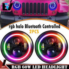 "LED 7"" Inch Headlight W/ Bluetooth RGB HALO Lights fits 1997-17 Jeep Wrangler JK"