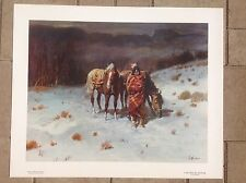 Old West Art Print of Indian with Horses & Native American Brave Image