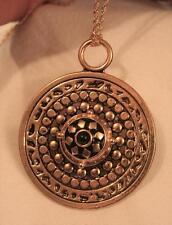 Handsome Large Shiny Bead Rim Black Finish Rhombus Goldtone Pendant Necklace