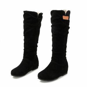 Women Slouch Below The Knee High Boots Faux Suede Flat Hidden Heels Shoe Fashion