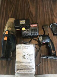 Ryobi 18v Charger Plus One Battery 18 Volt - Vacuum And Flashlight