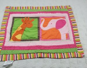 Girls Quilted Pillow Sham 20x26 Giraffe elephant animal bright 1pc Shabby Chic