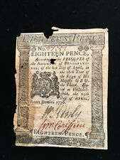 New ListingColonial currency 18 pence Note 1776