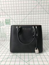NWT Michael Kors Adele Medium Pebbled Leather Satchel Messenger Bag Black