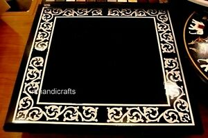 36 Inches Hand Inlay Work Marble Office Table Top Stone Patio Dining