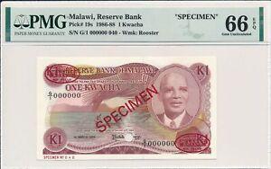 Reserve Bank Malawi  1 Kwacha 1986 Specimen PMG  66EPQ