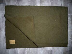 "Vintage 60s Vietnam War US Army Olive Drab Wool Field Gear Blanket Size 64 X 81"""